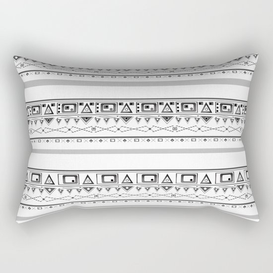 Black with gray and white pattern . Rectangular Pillow