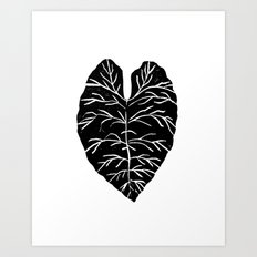Leaf tropical linocut blockprinted stamp leaves black and white minimal modern pattern art print Art Print