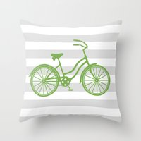 kermit Throw Pillows featuring kermit bike by Ann Gardner