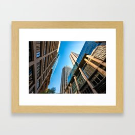 Low angle view perspective on Pitt Street in Sydney Framed Art Print