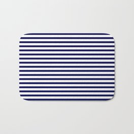 Navy Blue & White Maritime Small Stripes - Mix & Match with Simplicity of Life Bath Mat