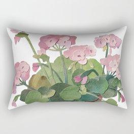 pink pelargonium in the pot watercolor collage Rectangular Pillow
