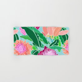 Bird of Paradise + Ginger Tropical Floral in Blue Hand & Bath Towel