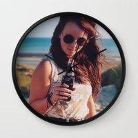 coca cola Wall Clocks featuring coca cola by Millie Clinton