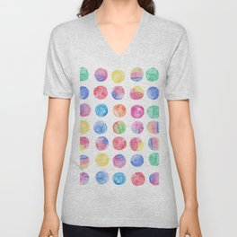 Artistic hand painted pink blue green watercolor brush strokes polka dots Unisex V-Neck