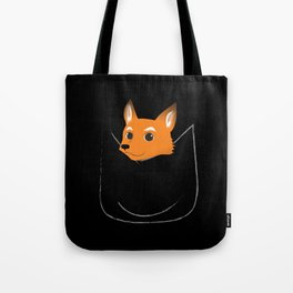 Fox in my pocket - on black Tote Bag