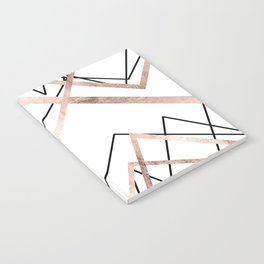 Rose Gold White Linear Triangle Abstract Pattern Notebook