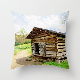 Historic Log Cabin Throw Pillow