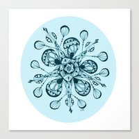 snowflake Canvas Prints featuring Snowflake by Laura Maxwell
