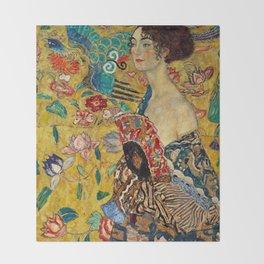 Gustav Klimt Lady With Fan Throw Blanket
