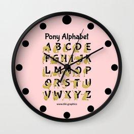 Pony Alphabet Chart, Pink Wall Clock