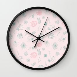 Contemporary  Abstract Pattern Art on Pink-Mix & Match with Simplicity of life Wall Clock