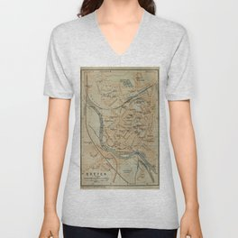 Vintage Exeter England Map (1910) Unisex V-Neck