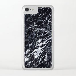 Real Marble Black Clear iPhone Case