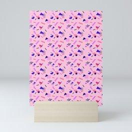 Memphis Repeating Pattern Small Scale Pink Mini Art Print
