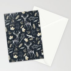 Deer and birds. Dark pattern Stationery Cards