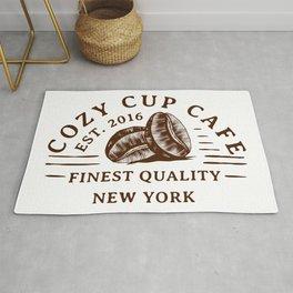 Cozy Cup Cafe logo Rug