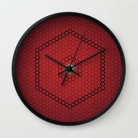 hexagon Wall Clocks featuring Hexagon by BoxEstudio