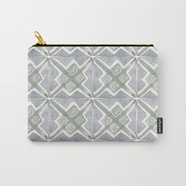Gray Green Boho Handpainted Tiles Watercolor Carry-All Pouch