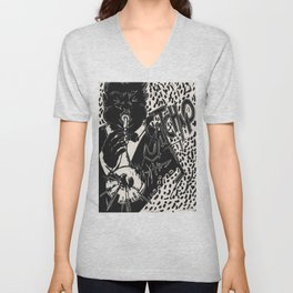Thank You, Pops, Louis Armstrong Jazz Trumpet Black and White Block Print Unisex V-Neck