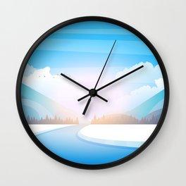 Winter rural landscape background. Vector illustration. Wall Clock