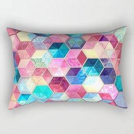 Topaz & Ruby Crystal Honeycomb Cubes Rectangular Pillow
