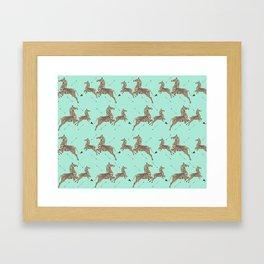 Royal Tenenbaums Zebra Wallpaper - Seafoam green Framed Art Print