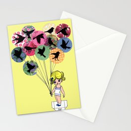 Paper doll with birds within balloons Stationery Cards