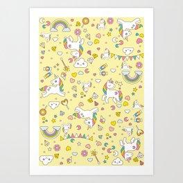 Unicorn Yellow Pattern Art Print