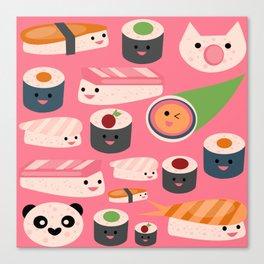 Kawaii sushi hot pink Canvas Print