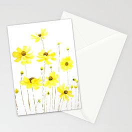yellow cosmos flowers watercolor Stationery Cards