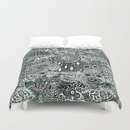 Modern dark green forest watercolor Christmas dream catcher floral doodles Duvet Cover