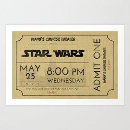 1977 Vintage Movie Ticket Art Print