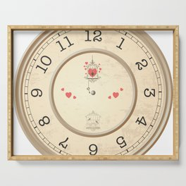 Wall clock heart Serving Tray