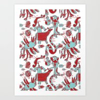 Knights turquoise and red Art Print