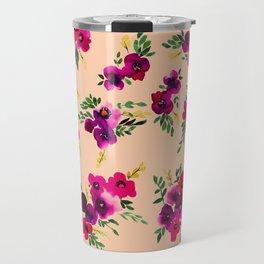 Ava Floral Peach Travel Mug