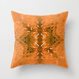 Velvet Splash Star Orange Mandala Throw Pillow