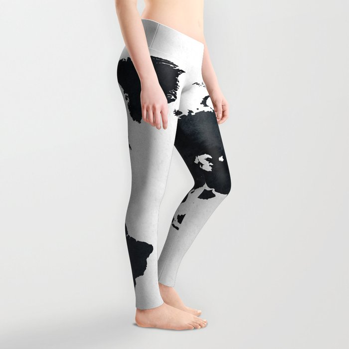 World Map in Black and White Ink on Paper Leggings