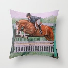 Hunter Over Fences chestnut mare Throw Pillow