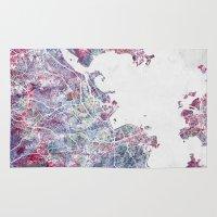 rio de janeiro Area & Throw Rugs featuring Rio de Janeiro map by MapMapMaps.Watercolors