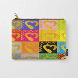Gold Hearts on colorful Stamp Carry-All Pouch