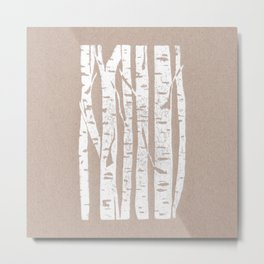 Woodcut Birches Metal Print