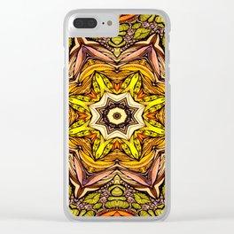 Abstract orange mandala Clear iPhone Case