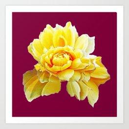 Burgundy Color Yellow Rose Flower Art Design Pattern Abstract Art Garden Art Print