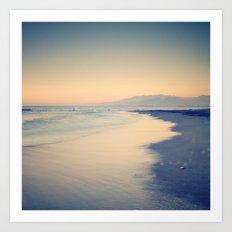 Pink sunset. Summer beach Art Print