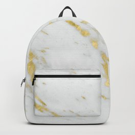 Luxury white marble gold accent Backpack