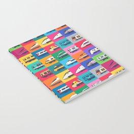 World Trains Grid Pattern Notebook