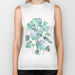 Delicate Monstera Blue And Green #society6 Biker Tank