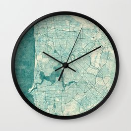 Perth Map Blue Vintage Wall Clock