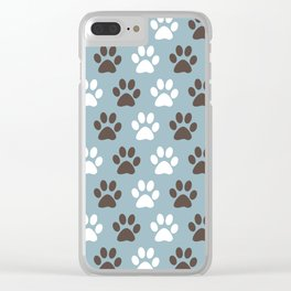 Animal Paw Print Pattern Blue Clear iPhone Case